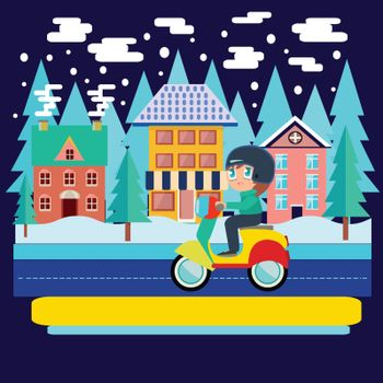 Merry Christmas and winter holiday greeting card design with Winter city landscape and  Boy Riding scooter, motorcycle in flat vector illustration.
