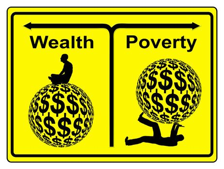 Concept sign of social and economic inequity and the worldwide wealth gap