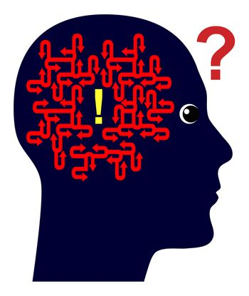 Concept sign of a scientist who keeps on thinking til he finds the solution