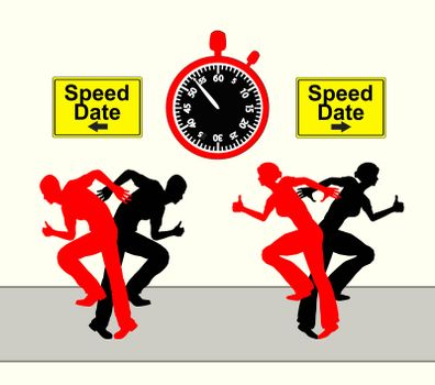 The search for the right partner as a race against the clock, humorous concept sign and symbol