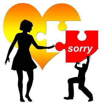 Man apologizes, woman hesitating to accept it