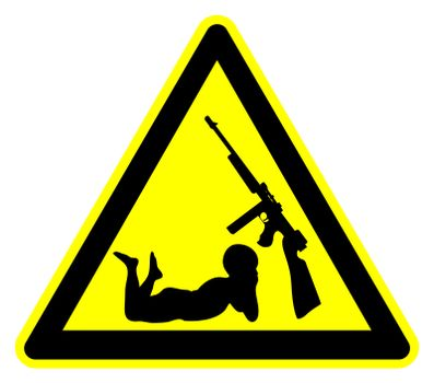 Concept and warning sign of securing firearms from little hands