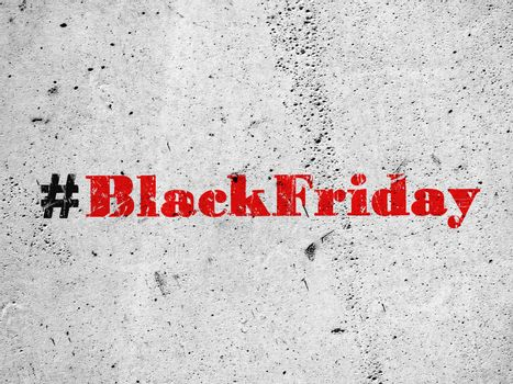 Red hashtag Black Friday illustration on concrete wall