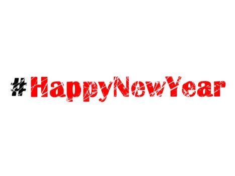 Hashtag Happy New Year graffiti illustration on white background