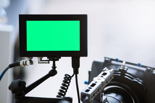 Camera in panorama view shooting recording or filming. and green screen concept leave space for edit inserts video scene.