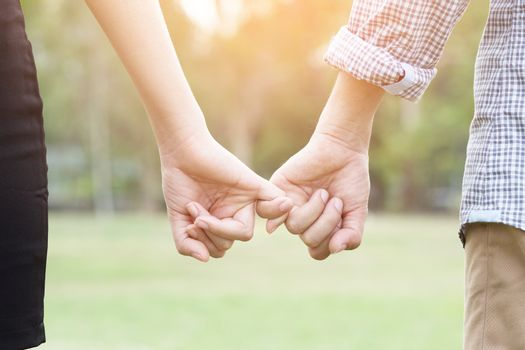 Couple lovers holding hands towards the sun with bright sun flare in parks