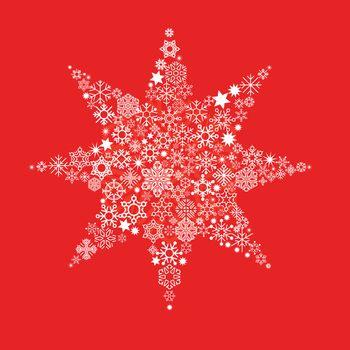 Christmas star on red