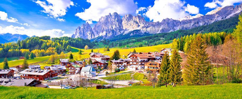 Alps landscape in Cortina D' Ampezzo panoramic view