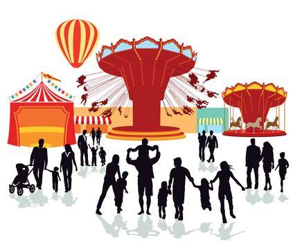 Fairground, folk festival illustration