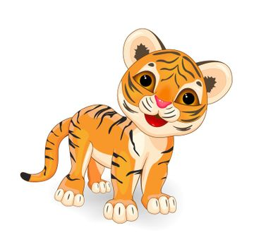 Cartoon little tiger cub on a white background.