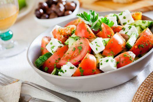 Close Up Of A Refreshing Greek Salad