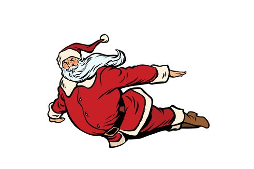 Santa Claus flying superhero