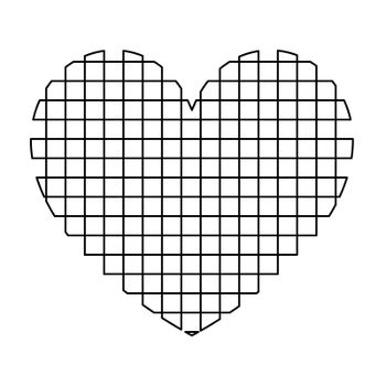Heart with square icon .