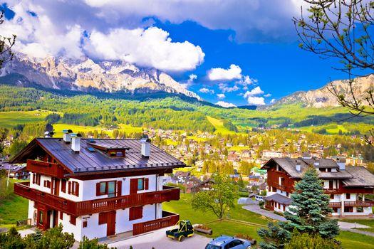 Alpine town of Cortina d' Ampezzo in Dolomites Alps view