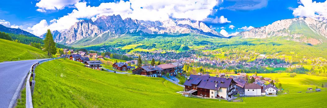 Beautiful town of Cortina d' Ampezzo in Dolomites Alps panoramic