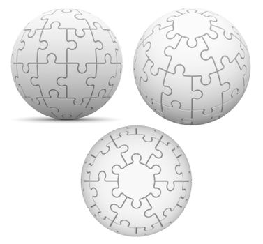 Spherical puzzle on white background