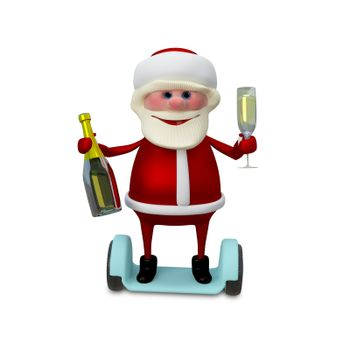 3d Illustration of Santa with Champagne on Electric Scooter