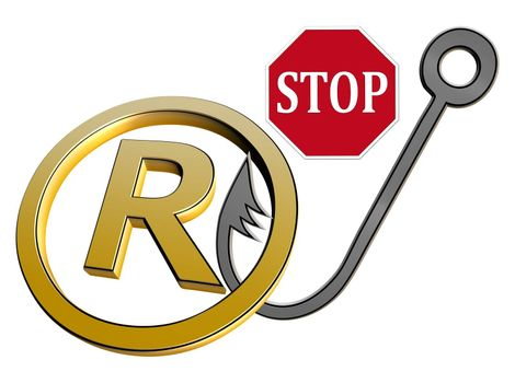 Concept sign and symbol against trademark violations and fraud