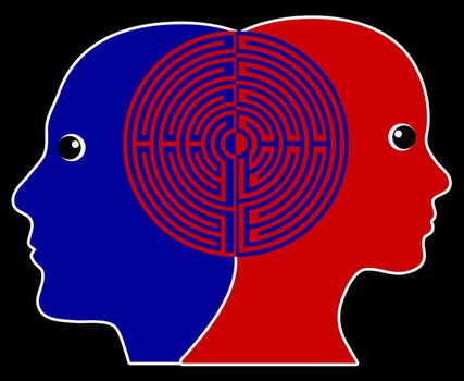 Two people being in sync or on the same wavelength which is common practiced in psychotherapy