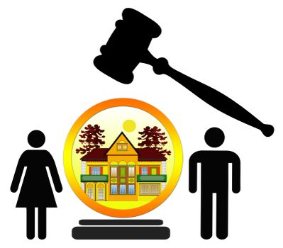 Concept sign of couple loosing or purchasing their home at public auction
