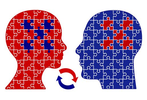 Exchanging Ideas. VConcept of empathetic communication and rapport between two people, man and woman
