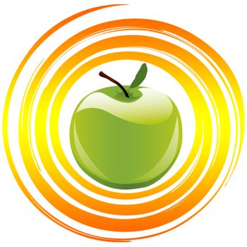 Apple as symbol and sign for healthy food and balanced diet