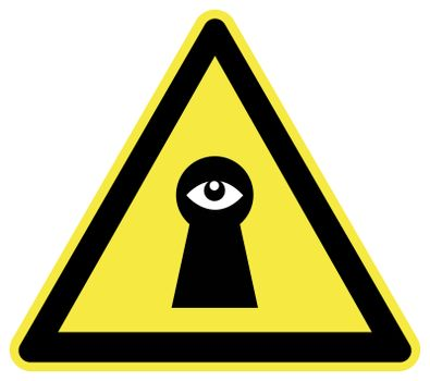 Do not spy. Privacy at stake through surveillance, concept of Big Brother is watching you