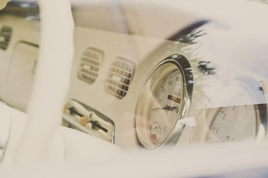 detail of vintage car interior