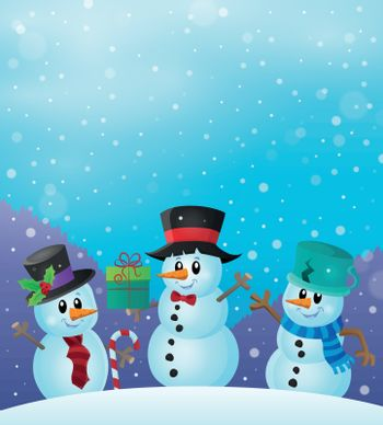 Christmas snowmen in snowy weather - eps10 vector illustration.