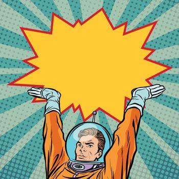 astronaut holding comic bubble