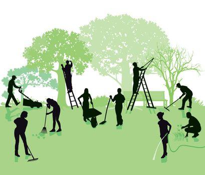 Gardening, garden with gardeners