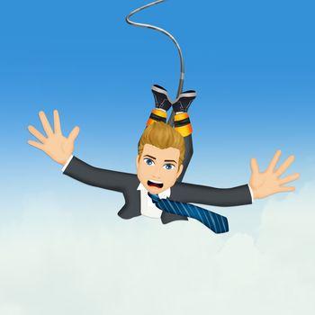 Businessman doing bungee jumping
