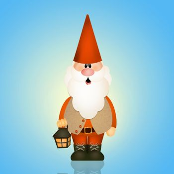 funny gnome with lantern