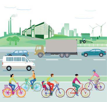 Traffic and environment, illustration