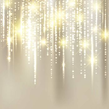 Abstract elegant christmas golden fabric background with gold glitter. Vector Illustration.