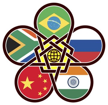BRICS: Symbol of the association of emerging national economies, Brazil, Russia, India, China, South Africa