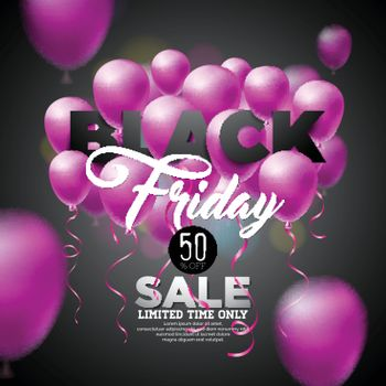 Black Friday Sale Vector Illustration with Shiny Balloons on Dark Background