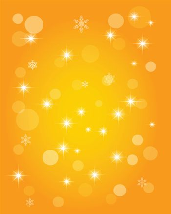 Christmas abstract background of crystal snowflakes, bright twinkling stars, highlights and sparkles. Vector illustration