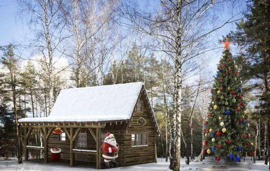 Santa Klaus at the cabin in the woods and a Christmas tree.