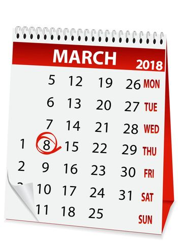 holiday calendar in 8 March 2018