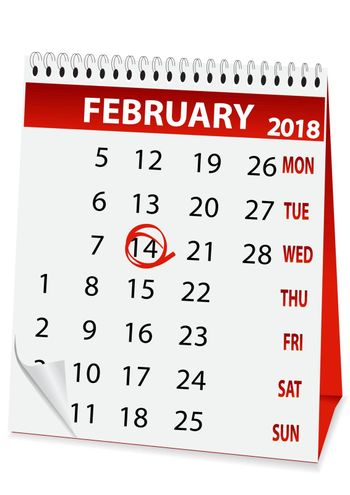 holiday calendar for Valentine's Day 2018
