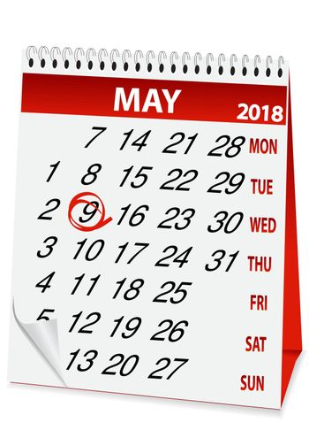 icon calendar for May 9 2018
