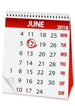 icon calendar for June 12 2018