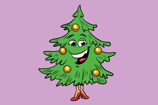 Christmas tree cute smiley face character