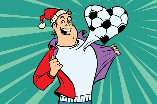 Sports fan loves football. Comic book cartoon pop art illustration retro vector