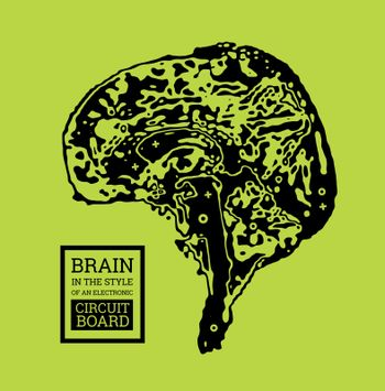 The brain is in the form of a topographic map or an electronic printed circuit board. Vector illustration