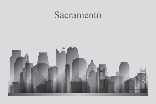Sacramento city skyline silhouette in grayscale
