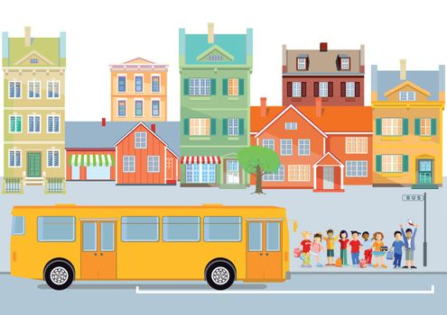 Hilarious schoolchildren in front of the school bus