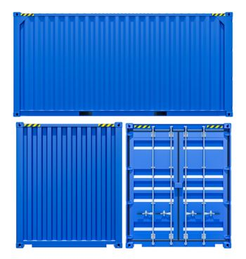 Blue cargo freight container from different sides