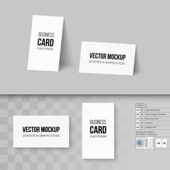 White Business Cards Template. Corporate Identity. Branding Mock Up with 3D Rotate Options